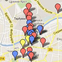Mapa Niša sa lokacijama